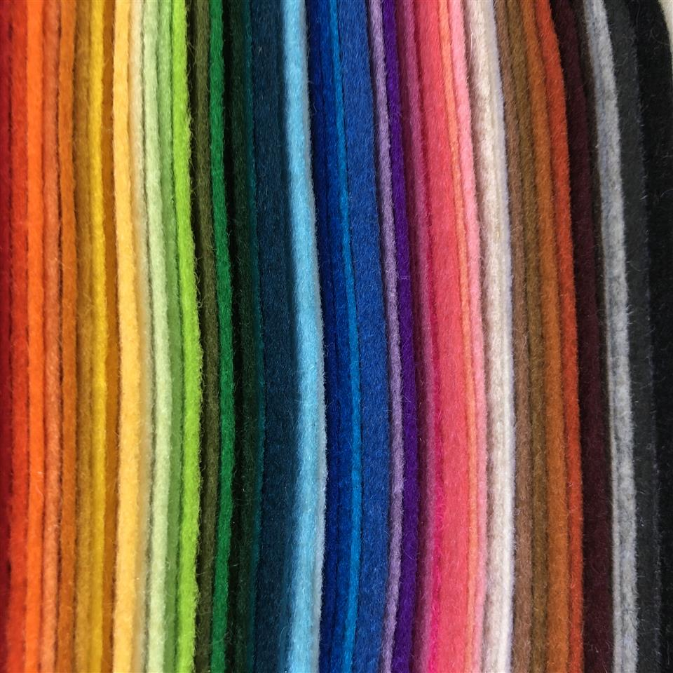 Commercially Dyed 100% Pure New Wool Felt - 90 x 50cm