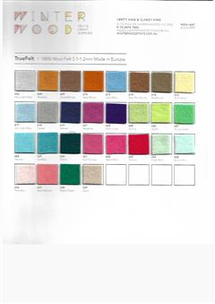 Commercially Dyed Felt, colour chart