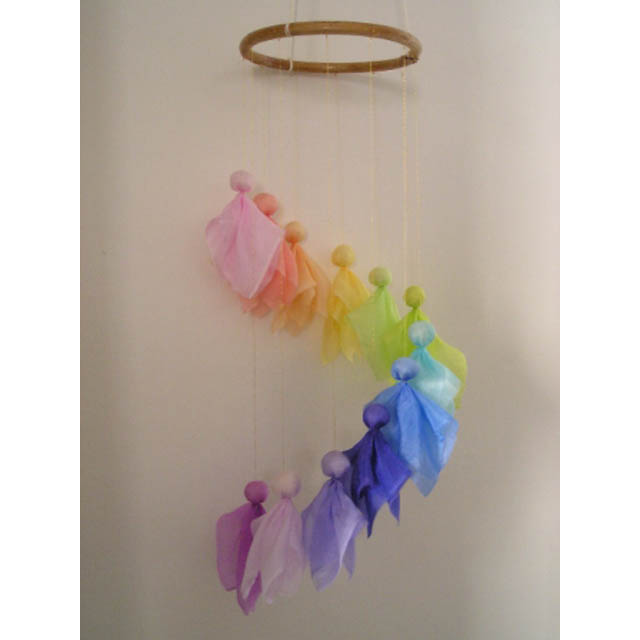 Finished Rainbow Mobile - Silk Angel - Pastel Rainbow