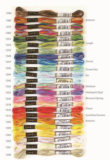Multi Coloured Embroidery Threads 100% Cotton