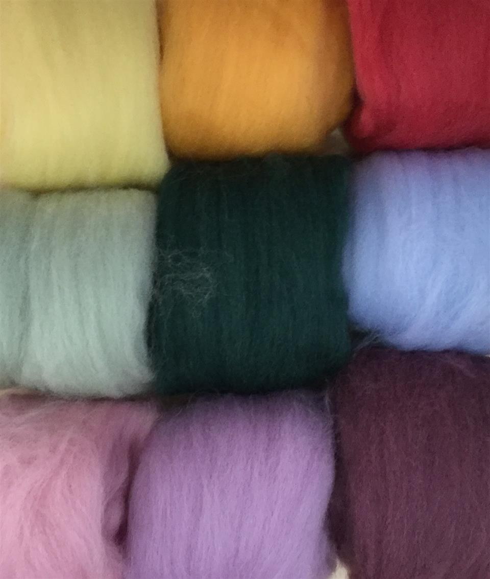 Felting Merino Wool Tops - assorted colours, 200 grams