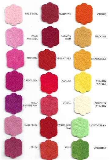 Hand Dyed Felt Colour Chart - item not for sale