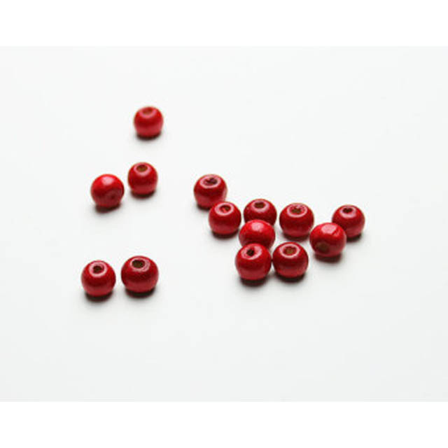 Red Wooden Beads - pack of 35, size 12mm