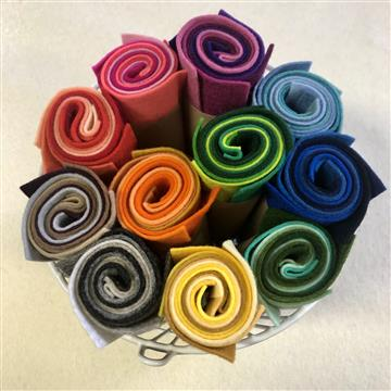Wool Felt Pack - 5 colours 20 x15cm